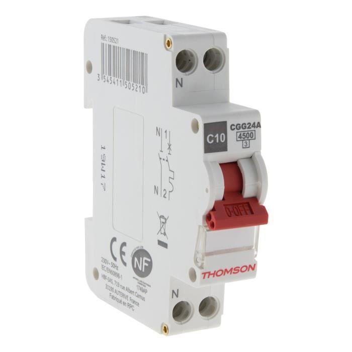 THOMSON Disjoncteur à vis PH+N - 10A NF - Pouvoir de coupure 4.5KA