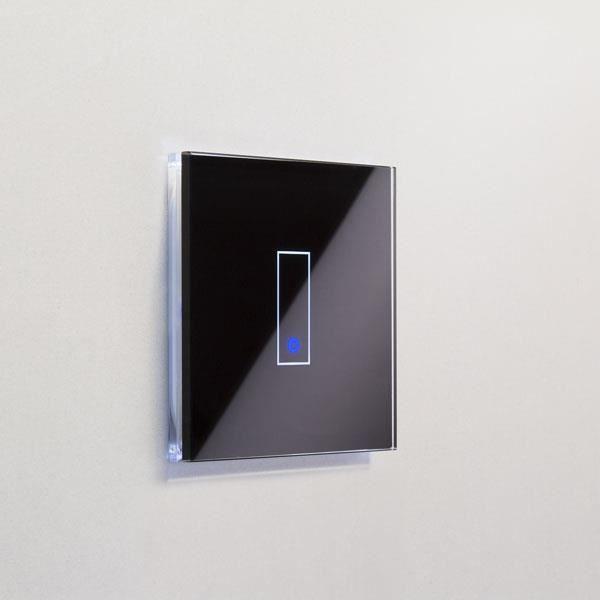 Interrupteur simple WiFi intelligent verre noir tactile compatible Google Home  Alexa IOTTY