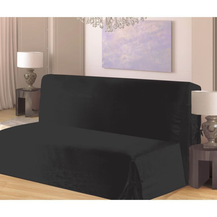 housse de clic clac nouettes en bachette noir achat vente housse de canape cdiscount. Black Bedroom Furniture Sets. Home Design Ideas