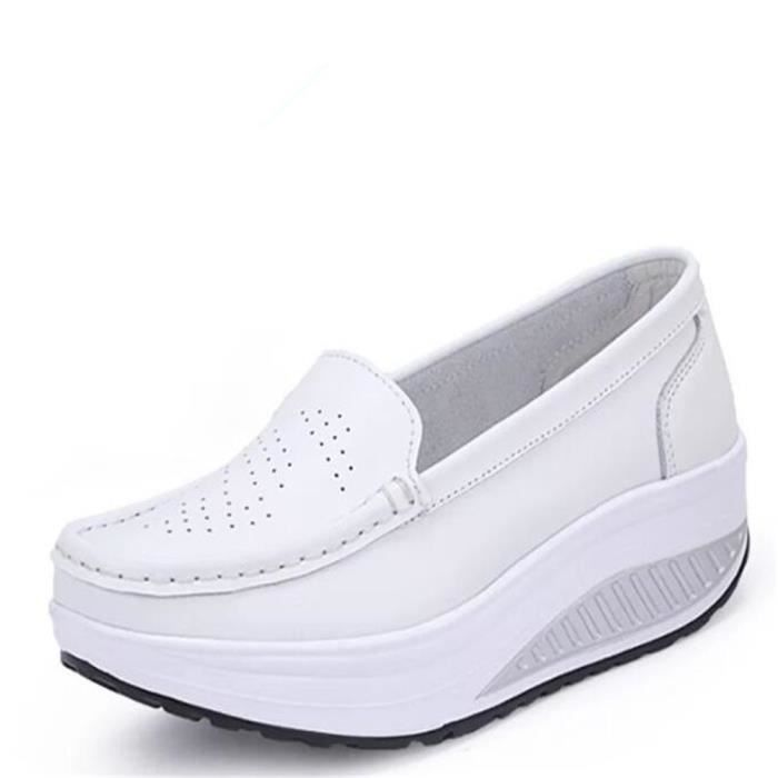 Chaussures Femmes Printemps ete Plate-Forme Chaussures BSMG-XZ058Blanc40