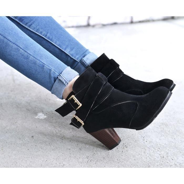 BOTTE Chaussures@ Bottes femme à talons hauts Martin Noi