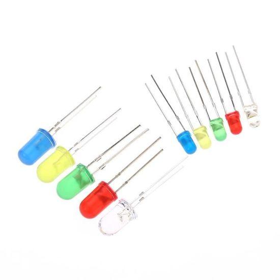 300pc 3 mm 5 mm Rouge Vert Bleu Jaune Blanc DEL Ampoule Lampe à diode électroluminescente Kit
