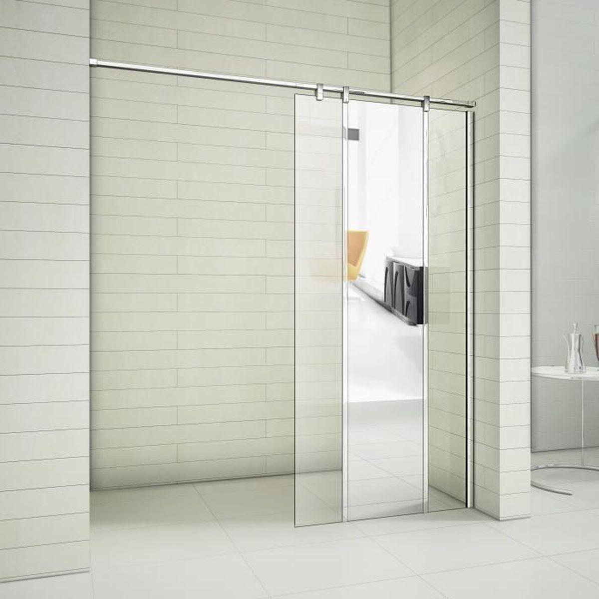 Paroi de douche pare-douche verre de securite transparent 10mm barre de stabilisation rectanguliere douche a l italienne Bremen2 110x200