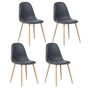 CHAISE CHARLTON Lot de 4 chaises - Simili noir - L 42,5 x
