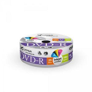 CD - DVD VIERGE Pack de 25 DVD-R 4,7GB XLayer 16x Inkjet white Ful