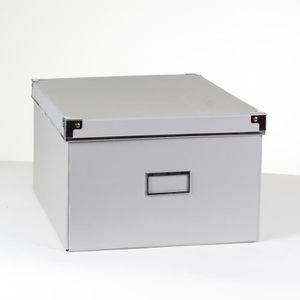BOITE DE RANGEMENT Boîte carton grise finition métal - petit modèle G