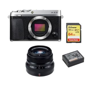 APPAREIL PHOTO RÉFLEX FUJI X-E3 Silver + XF 35MM F2 R WR Black + 64GB SD