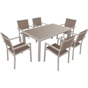 Salon de jardin BERGAMO en textilène gris 6 places ...