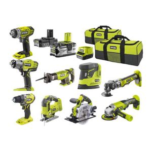 BATTERIE MACHINE OUTIL Pack RYOBI Ultra-complet 9 outils - 2 batteries 2.