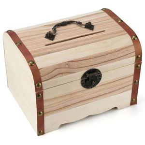 TIRELIRE 1 PC Tirelire en bois avec coffre fort Avec serrur
