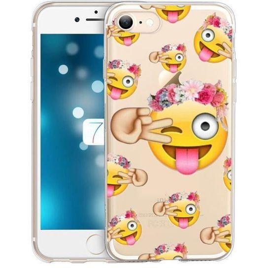 Coque Iphone 7 Plus Smiley Fleur Emojii Emoticone Achat Coque Bumper Pas Cher Avis Et Meilleur Prix Cdiscount
