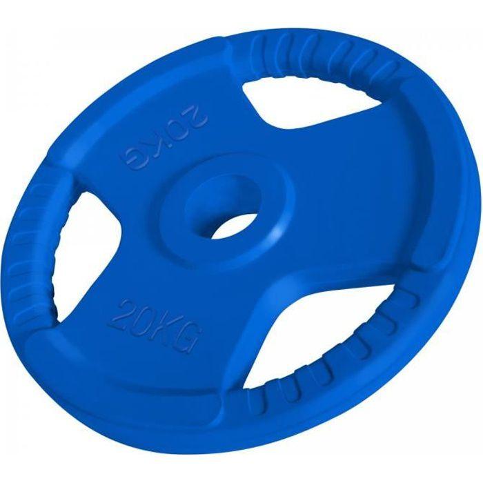 1 x Disque de 20 KG - Poids en fonte avec poignées et revêtement caoutchouc - Ø 51mm d'alésage