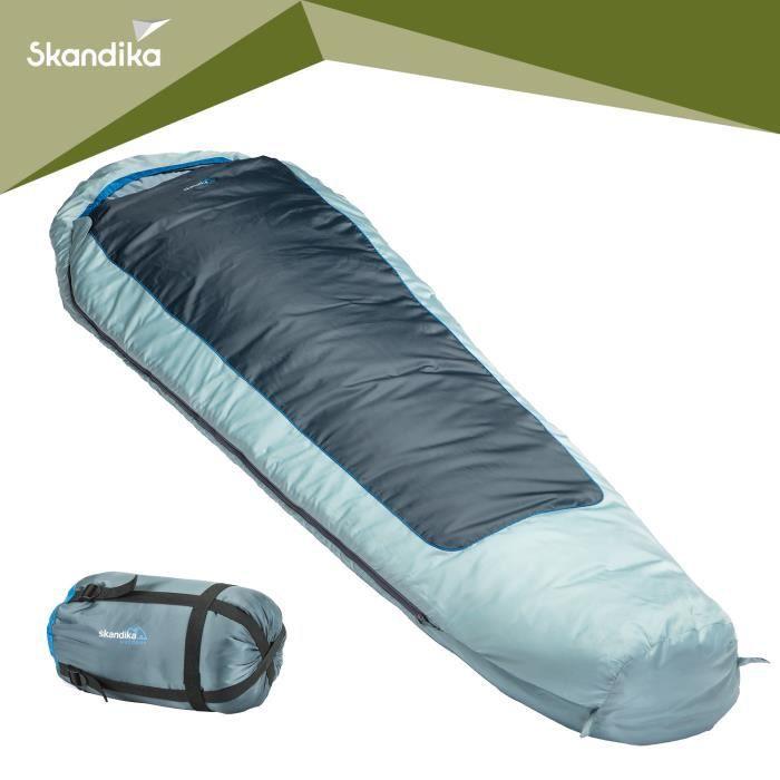 Skandika Nevada - Sac de couchage momie - jumelable - 230x80 cm - zip gauche - bleu-gris