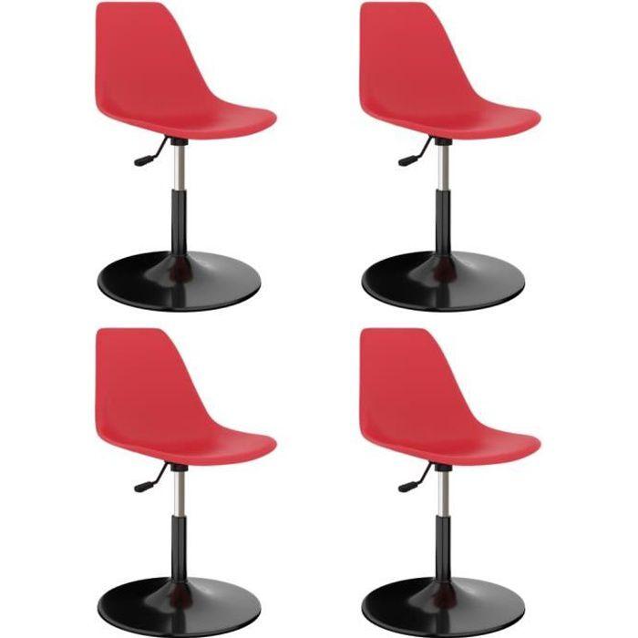 Luxueux Lot de 4 Chaises de salle à manger pivotantes Design Moderne - Siège de Salon Tabouret de bar Rouge PP ♫74501
