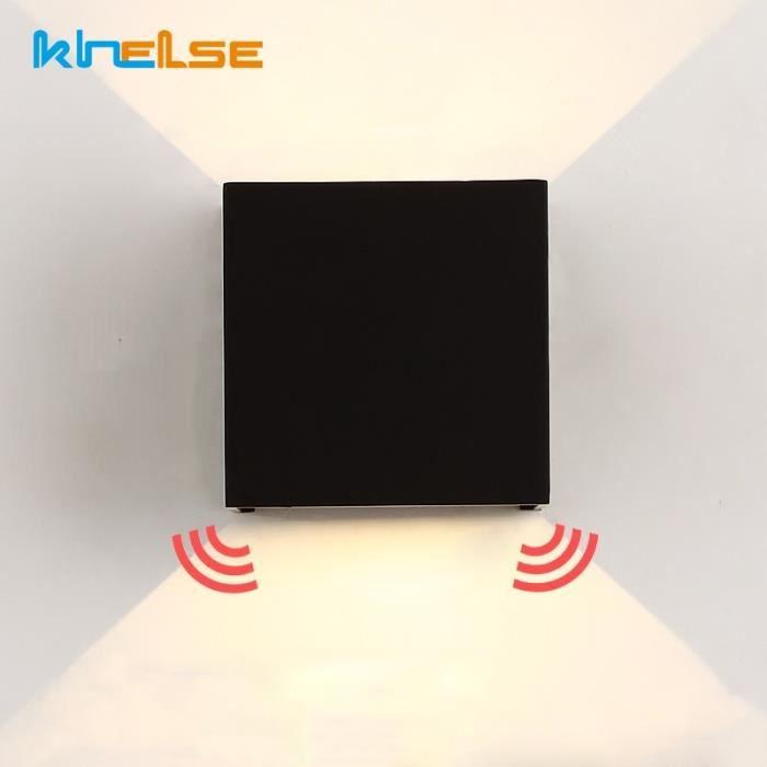 Extérieur détecteur de mouvement LED applique murale étanche IP65 porche lumière moderne 7W 12W LED applique murale - Black - JB4022