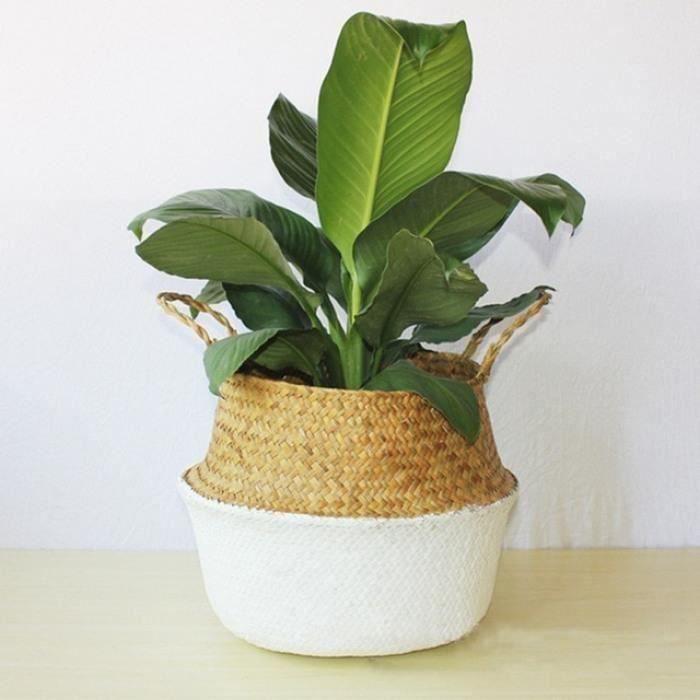 Version B - L - Panier De Rangement En Rotin Paille Osier Pliant Fleur Pot #73