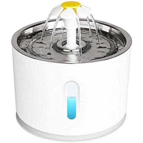 JFUNE Fontaine d'eau Potable pour Chats, Fontaine pour Animaux de Compagnie pour Chiens avec arrêt Automatique de la Pompe à Eau et