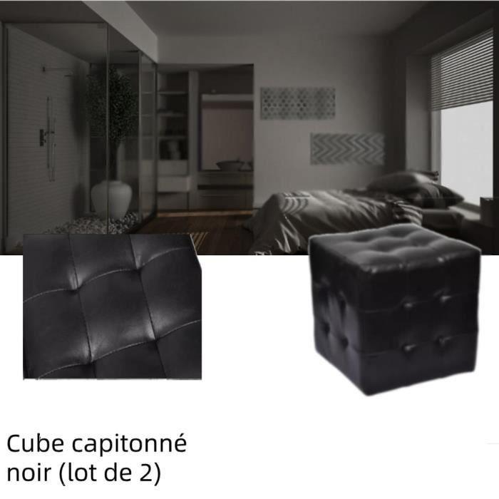 Zhihushop Pouf cube capitonné noir (lot de 2) simili cuir 30 × 30 × 30 cm Polyuréthane: 100% Tables de chevet - 28211