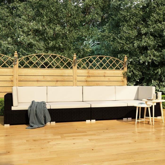 Excellent Qualité :) Canapés de jardin 4 pcs avec coussins - Classique - Sofa Divan - Salon de jardin Résine tressée Noir &82656&