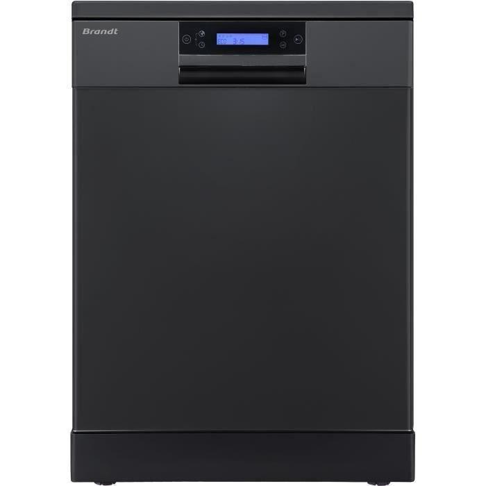 Lave-vaisselle pose libre BRANDT DFH144LB - 14 couverts - Largeur 60 cm - Classe A+++ - 44 dB - Noir
