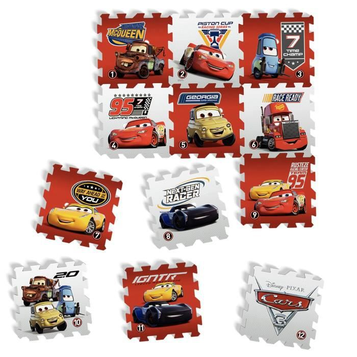 DISNEY CARS - TAPIS PUZZLE MOUSSE DE 12 PIECES - TATAMIZ