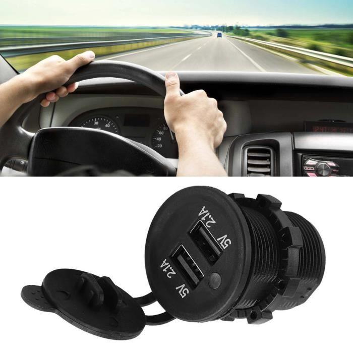 Drfeify prise de prise de chargeur USB 5V 2.1A double chargeur USB adaptateur allume-cigare prise femelle pour voiture moto camion