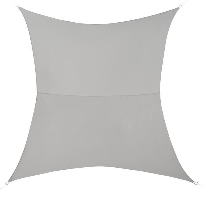 [en.casa] Voile d'Ombrage Toile d'Ombrage Toile de Protection Polyester Polyuréthane Quadrilatéral Gris Clair 2x4 m
