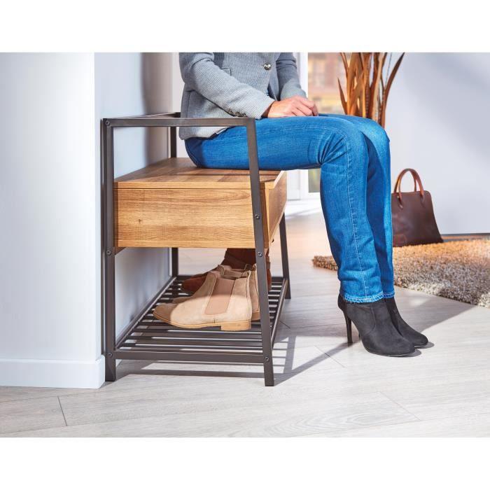 Ce banc à chaussures multifonction vous aide à organiser votre entrée. L'étagère en bas peut accueillir plusieurs paires de