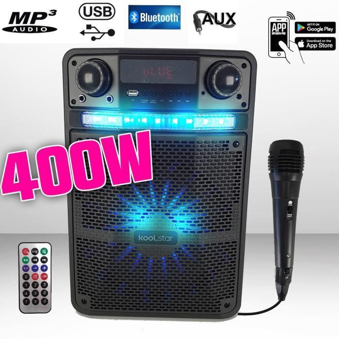Enceinte Karaoké sono Batterie PARTY BOX 400W à LED + APPLICATION SMARTPHONE - PC/USB/Bluetooth/RADIO FM / Micro