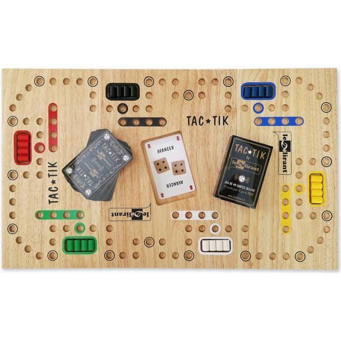 JEU du TAC★TIK de 2 à 6 joueurs, plateau modulable, 7 ans et + jeu de société familial en bois d'Évéa éco-responsable, normes CE.