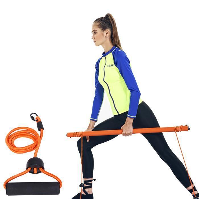Barre de Pilates avec sac de rangement de bande de résistance Kit de bâton de barre d'exercice de yoga Barre de tonification mus-46