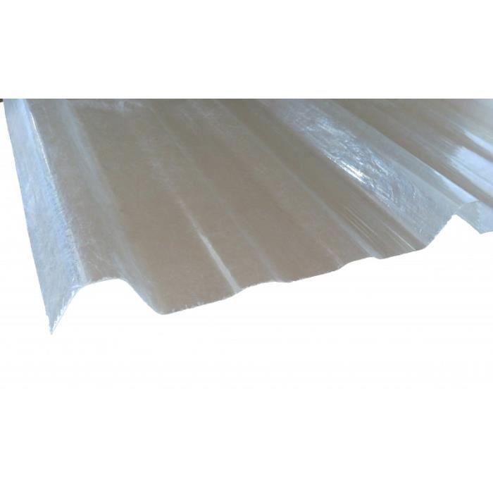 Plaque type bac acier 1045 en polyester - L: 250 cm - l: 105 cm - Translucide