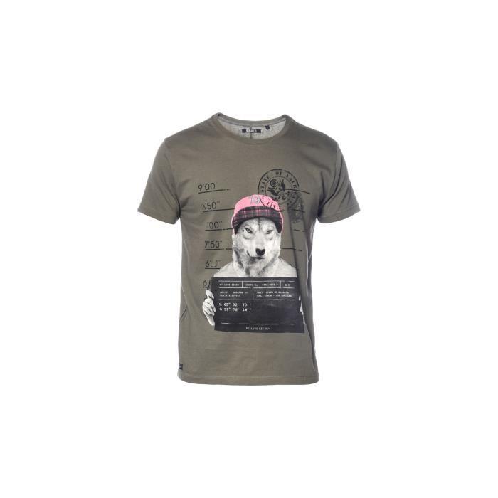 DEELUXE - THISBOY T-Shirt Kaki Manches Courtes Imprimé Loup - Garçon