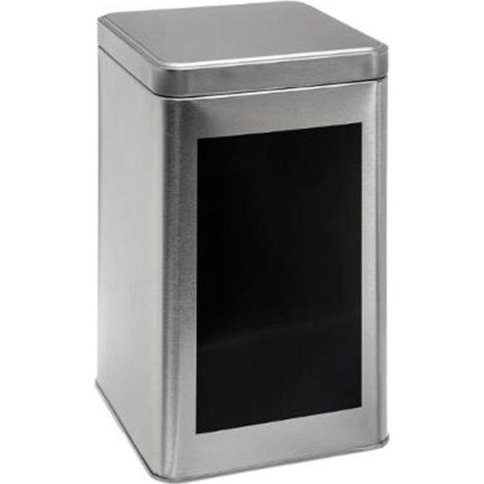 Boîte à Pâtes, Riz & Farine Métal -Ardoise- 18cm Argent