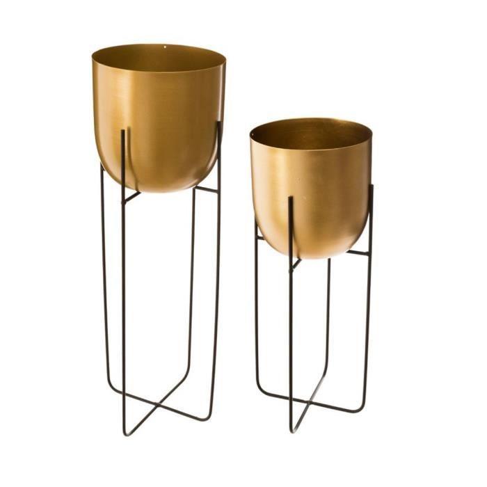 Lot de 2 pots ronds en métal doré - noir
