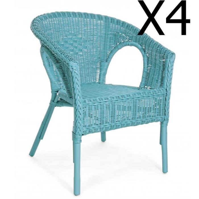 Lot de 4 fauteuils coloris bleu - Dim : L 58 x P 61 x H 74 cm