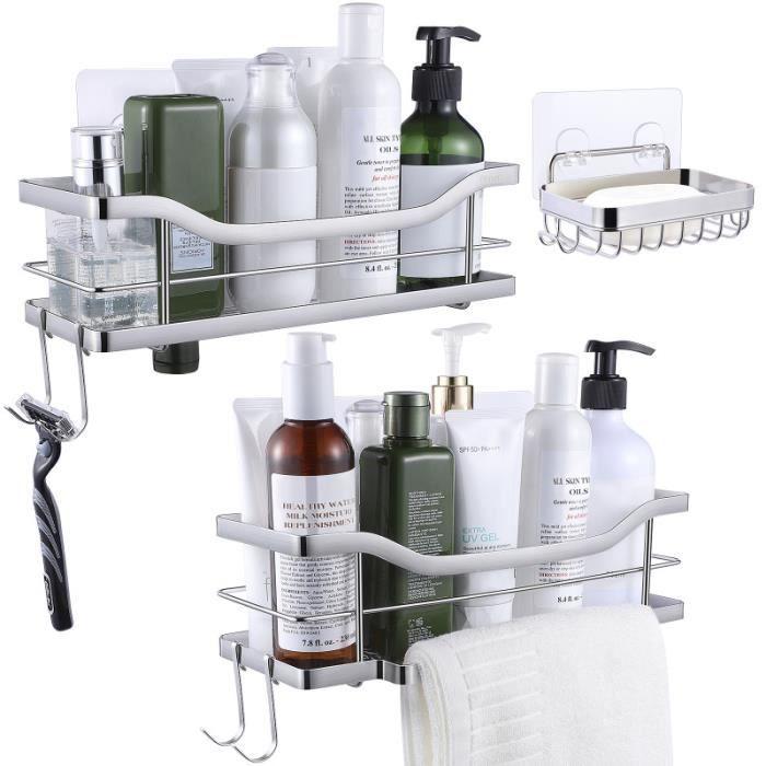 HOMEMAXS étagères de douche porte-savon en acier inoxydable étanche Design creux Caddies de pour RANGEMENT - CASIER - ETAGERE