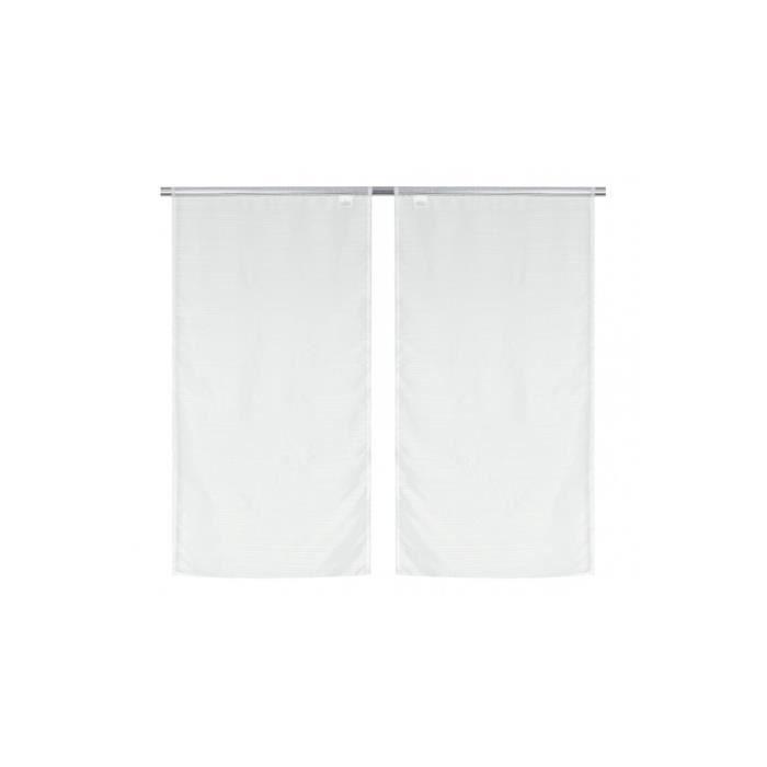 Paire de Voilage Vitrage a Fines Rayures en 60x120 CM Blanc Blanc