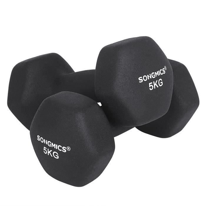 SONGMICS Lot de 2 Haltères 5 kg - Revêtement en vinyle antiglisse - Salle de sport Musculation Entraînement - Noir SYL60BK