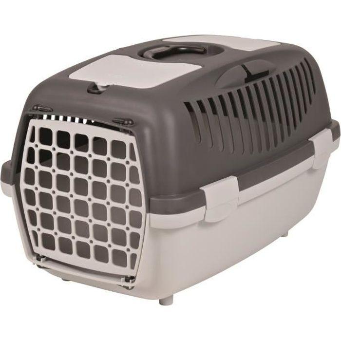 TRIXIE Box de transport Capri 2 - XS-S : 37x34x55 cm - Gris clair et gris foncé - Pour chien et chat