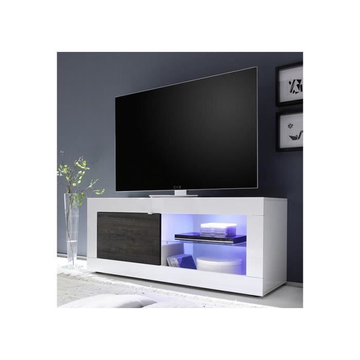 meuble tv laqu blanc et weng tika 140 cm achat vente meuble tv meuble tv laqu blanc et we. Black Bedroom Furniture Sets. Home Design Ideas
