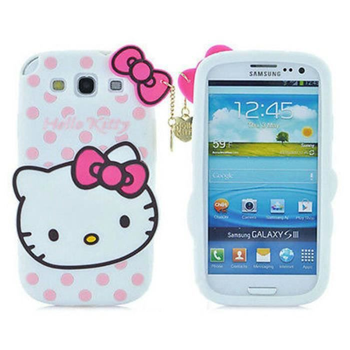 Coque samsung galaxy grand neo i9060 blanc chat hello for Housse de voiture hello kitty