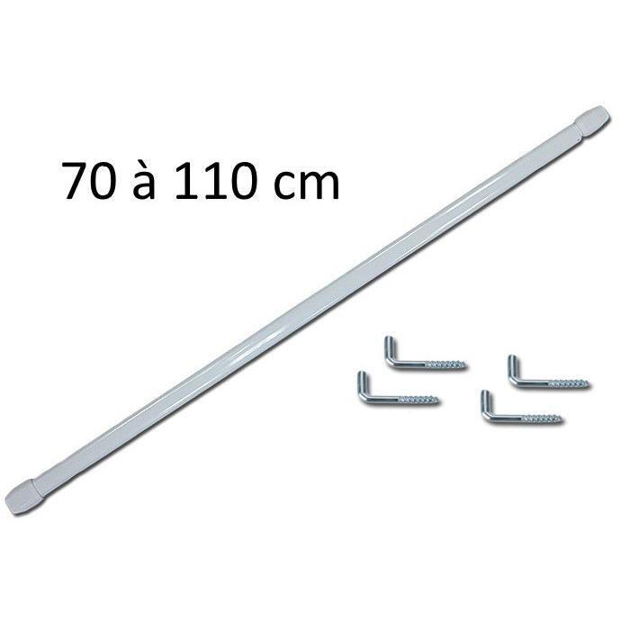 30-40 cm Meilleures Ventes 2 pi/èces Tringles /à Rideaux Extensibles Rondes /Ø 7 mm Blanches