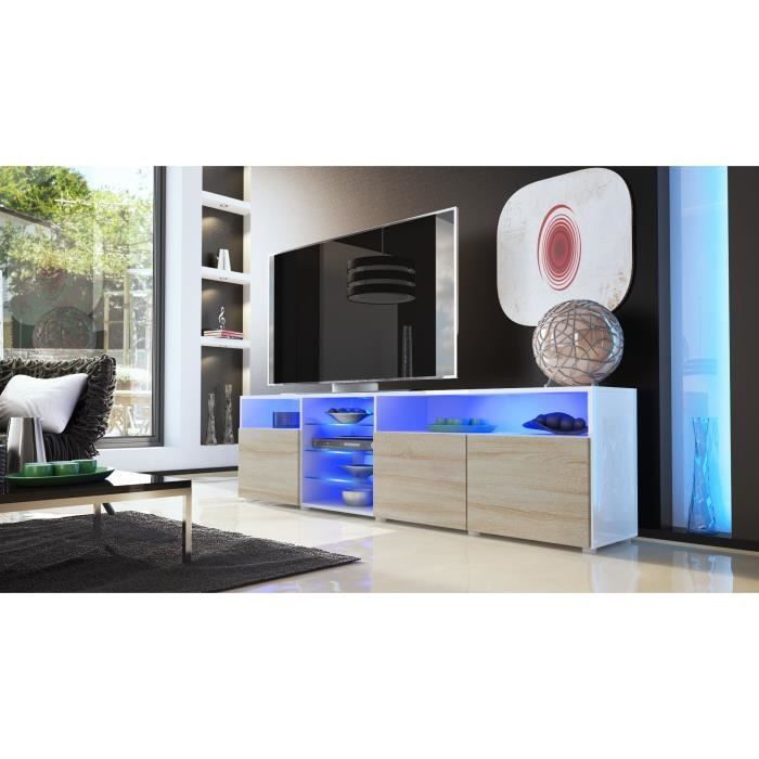 meuble tv laqu blanc et bois brut 194 cm achat vente meuble tv meuble tv laqu blanc et bo. Black Bedroom Furniture Sets. Home Design Ideas