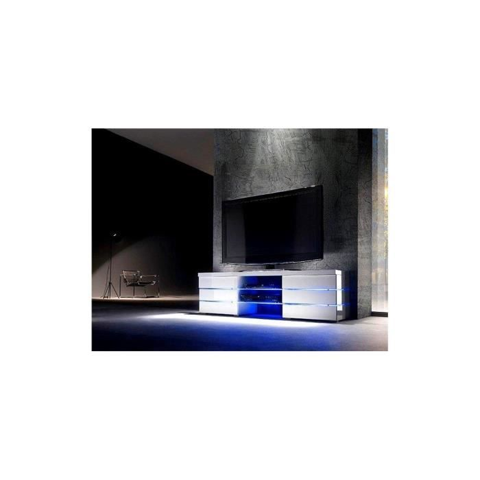 meuble tv led blanc laqu logan 150 cm blanc achat. Black Bedroom Furniture Sets. Home Design Ideas