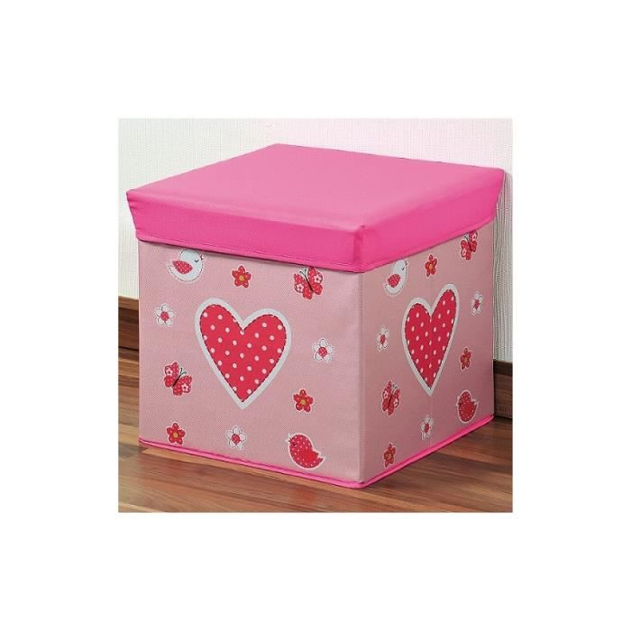 pouf coffre de rangement rose d coration ch achat. Black Bedroom Furniture Sets. Home Design Ideas