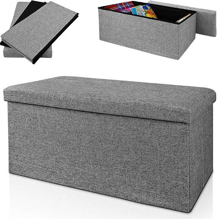 tabouret pouf bo te de rangement 80x40x40cm gris achat. Black Bedroom Furniture Sets. Home Design Ideas