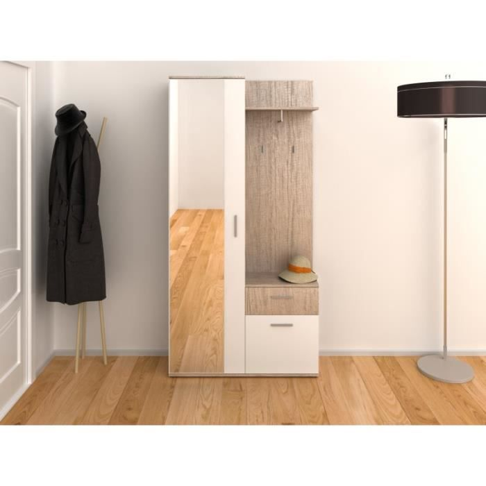 Armoire D Entree Chloee Imitation Chene L 197 X L 30 X H 195 Achat Vente Meuble D Entree Armoire D Entree Chloee Cdiscount