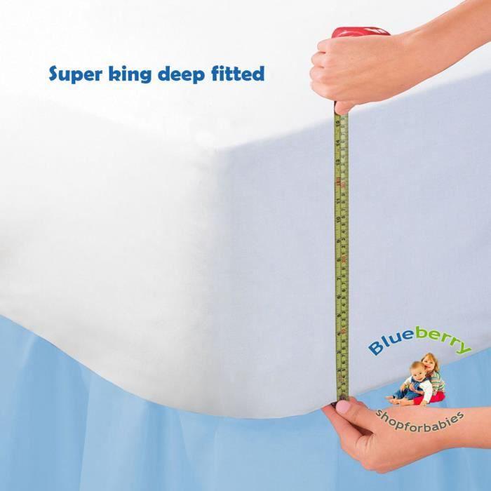 150x200 cm Adult Blanc 135x190 180x200 cm BlueberryShop LUXUEUX JERSEY COTON 16 EXTRA PROFOND Drap-Housse 135x190 cm