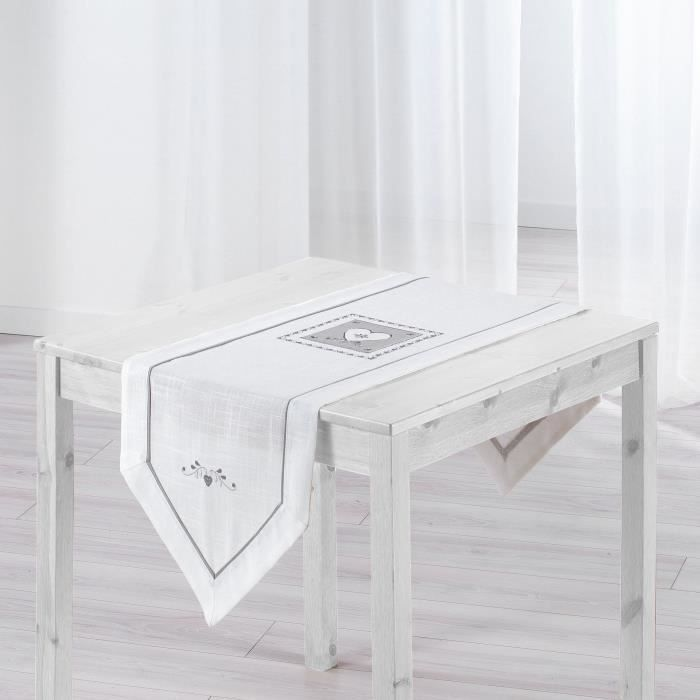 chemin de table brod amandine 40x150 cm blanc achat. Black Bedroom Furniture Sets. Home Design Ideas